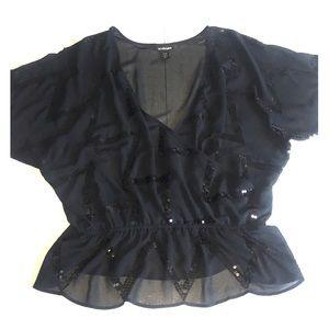 Lane Bryant 14/16 Black Faux Wrap Blouse Top Sheer